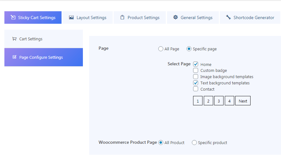 page configure settings